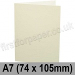Conqueror Wove, Pre-creased, Single Fold Cards, 300gsm, 74 x 105mm (A7), Oyster