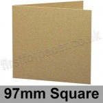 Cairn Eco Kraft, Pre-creased, Single Fold Cards, 280gsm, 97mm Square