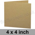Cairn Eco Kraft, Pre-creased, Single Fold Cards, 280gsm, 102mm (4 inch) Square