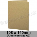 Cairn Eco Kraft, Pre-creased, Single Fold Cards, 280gsm, 108 x 140mm (American A2)