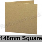 Cairn Eco Kraft, Pre-creased, Single Fold Cards, 280gsm, 148mm Square