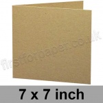 Cairn Eco Kraft, Pre-creased, Single Fold Cards, 280gsm, 178mm (7 inch) Square
