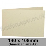 Harrier Speckled, Pre-creased, Single Fold Cards, 240gsm, 140 x 108mm (American A2) Landscape, Ivory
