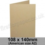Harrier Speckled, Pre-creased, Single Fold Cards, 240gsm, 108 x 140mm (American A2), Tan