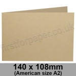 Harrier Speckled, Pre-creased, Single Fold Cards, 240gsm, 140 x 108mm (American A2) Landscape, Tan