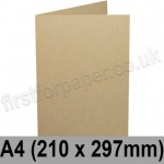 Harrier Speckled, Pre-creased, Single Fold Cards, 240gsm, 210 x 297mm (A4), Tan
