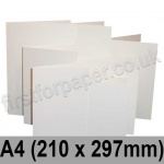 Linen Texture, Pre-creased, Single Fold Cards, 260gsm, 210 x 297mm (A4), Brilliant White