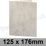 Marlmarque, Pre-creased, Single Fold Cards, 300gsm, 125 x 176mm Marble White
