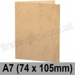 Marlmarque, Pre-creased, Single Fold Cards, 300gsm, 74 x 105mm (A7), Grecian Tan