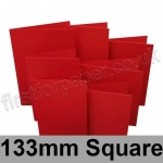 Rapid Colour Card, Pre-creased, Single Fold Cards, 240gsm, 133mm Square, Blood Red
