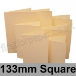 Rapid Colour Card, Pre-creased, Single Fold Cards, 225gsm, 133mm Square, Brambling Buff