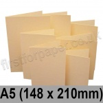 Rapid Colour Card, Pre-creased, Single Fold Cards, 225gsm, 148 x 210mm (A5), Brambling Buff