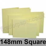 Rapid Colour Card, Pre-creased, Single Fold Cards, 225gsm, 148mm Square, Bunting Yellow