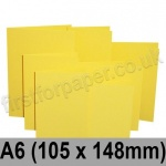 Rapid Colour Card, Pre-creased, Single Fold Cards, 225gsm, 105 x 148mm (A6), Canary Yellow