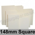 Rapid Colour Card, Pre-creased, Single Fold Cards, 225gsm, 148mm Square, Eider Vellum