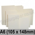 Rapid Colour Card, Pre-creased, Single Fold Cards, 225gsm, 105 x 148mm (A6), Eider Vellum