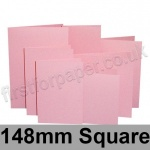 Rapid Colour Card, Pre-creased, Single Fold Cards, 225gsm, 148mm Square, Flamingo Pink