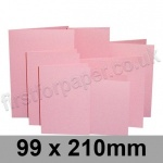 Rapid Colour Card, Pre-creased, Single Fold Cards, 240gsm, 99 x 210mm, Flamingo Pink