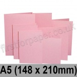 Rapid Colour Card, Pre-creased, Single Fold Cards, 225gsm, 148 x 210mm (A5), Flamingo Pink