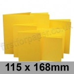 Rapid Colour Card, Pre-creased, Single Fold Cards, 225gsm, 115 x 168mm, Goldcrest Yellow
