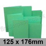 Rapid Colour Card, Pre-creased, Single Fold Cards, 225gsm, 125 x 176mm, Ocean Green