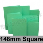 Rapid Colour Card, Pre-creased, Single Fold Cards, 225gsm, 148mm Square, Ocean Green