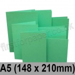 Rapid Colour Card, Pre-creased, Single Fold Cards, 225gsm, 148 x 210mm (A5), Ocean Green