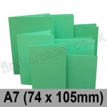 Rapid Colour Card, Pre-creased, Single Fold Cards, 225gsm, 74 x 105mm (A7), Ocean Green