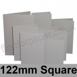 Rapid Colour Card, Pre-creased, Single Fold Cards, 225gsm, 122mm Square, Owl Grey