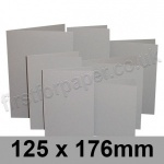 Rapid Colour Card, Pre-creased, Single Fold Cards, 225gsm, 125 x 176mm, Owl Grey