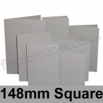Rapid Colour Card, Pre-creased, Single Fold Cards, 225gsm, 148mm Square, Owl Grey