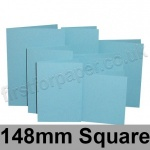 Rapid Colour Card, Pre-creased, Single Fold Cards, 225gsm, 148mm Square, Sky Blue
