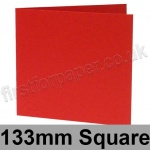 Rapid Colour Card, Pre-creased, Single Fold Cards, 225gsm, 133mm Square, Rouge Red