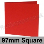 Rapid Colour Card, Pre-creased, Single Fold Cards, 225gsm, 97mm Square, Rouge Red