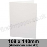 Ruskington, Pre-creased, Single Fold Cards, 300gsm, 108 x 140mm (American A2), Milk White