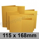 Stardream, Pre-creased, Single Fold Cards, 285gsm, 115 x 168mm, Fine Gold